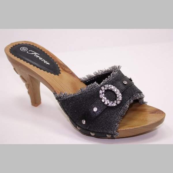 Slides High Heel Sandals Denim with Diamons 5~10
