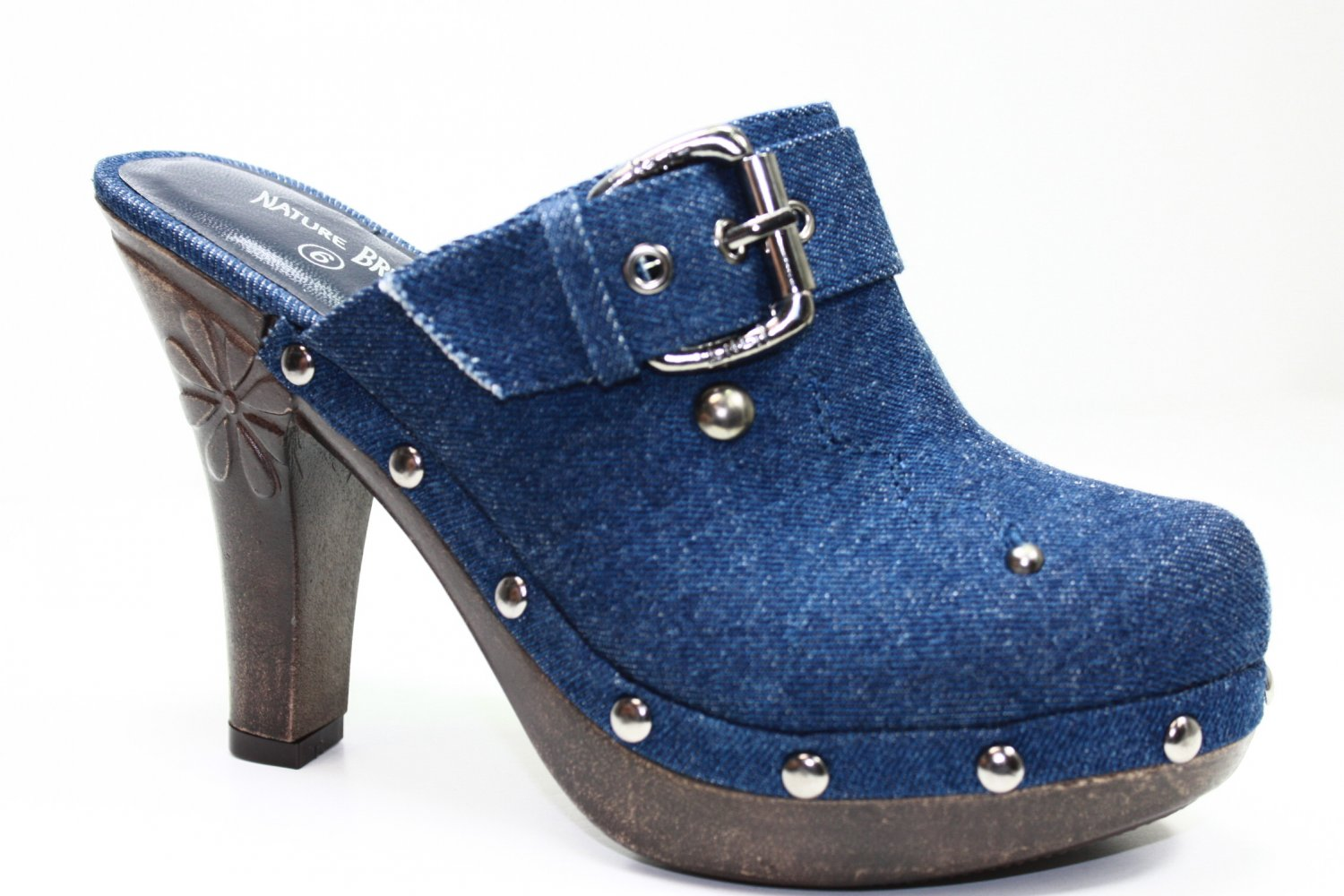 Sexy Clogs High Heel Mules Denim Navy Shoes All Sizes