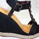 Platforms High Heel Sandals Wedge Denim Open Toe  Shoes