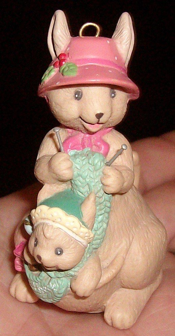 1992 Enesco Hoppy Holidays Kangaroo & Baby Ornament