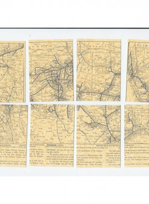Santa Fe Railway Map 8 part ACEO 1914 RR