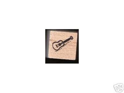 Small Guitar Rubber Stamp Traditional Music flat top