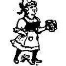 Beer Maid serving rubber Stamp Maiden German