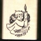 Angel Holding candle rubber stamp cute