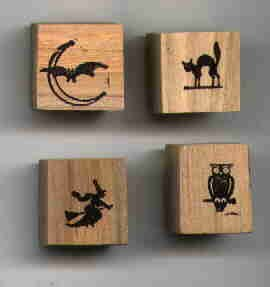 4 small Halloween rubber stamps cat bat Witch