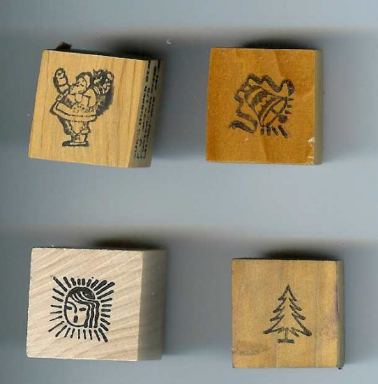 4 small Christmas Rubber Stamps Santa Tree Bell