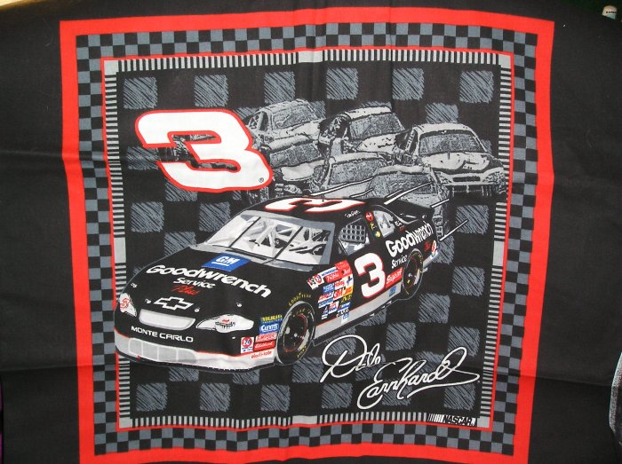 Dale Earnhardt #3  Nascar Fabric 2002 Fat Quarter Pillow top