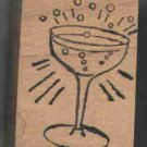 Champagne glass rubber stamp