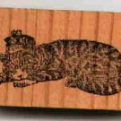 King Cat laying around with Crown rubber stamp