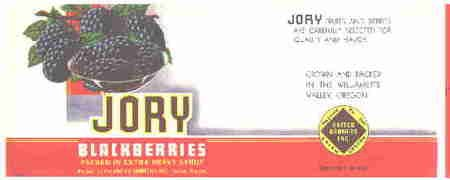 Jory Blackberry Blackberries Can Label 1950's Oregon