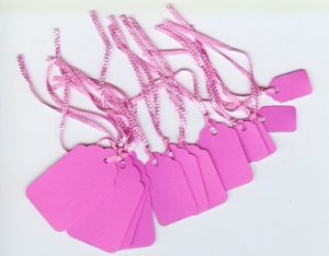Pink Tags 1 dozen 3 sizes with strings Classy