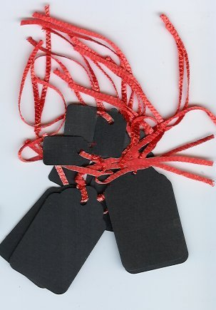 Black Textured Tags with Orange string 1 dozen