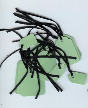 Green tags Black strings 1 Dozen 3 sizes