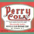 Perry Cola vintage soda label Rochelle Club 12 oz MINT