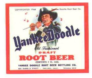 Yankee Doodle Root Beer 1944  vintage soda label 7 oz MINT
