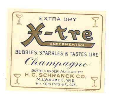 X-tre Unfermented Champagne vintage soda label 6 oz MINT
