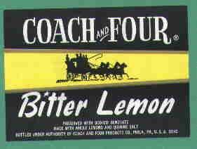 Coach and Four Bitter Lemon vintage soda label MINT