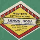 Lemon Western Botling Works San Francisco  vintage soda label MINT