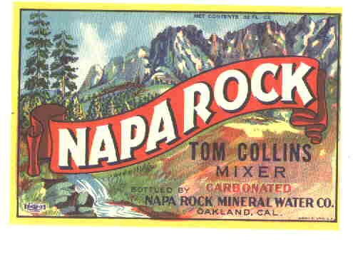 Napa Rock Tom Collins mixer Union litho vintage soda label 32 oz MINT