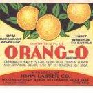 Orang-o vintage soda label 12 oz MINT John Lasser co.