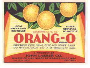 Orang-o vintage soda label 12 oz MINT John Lasser co.