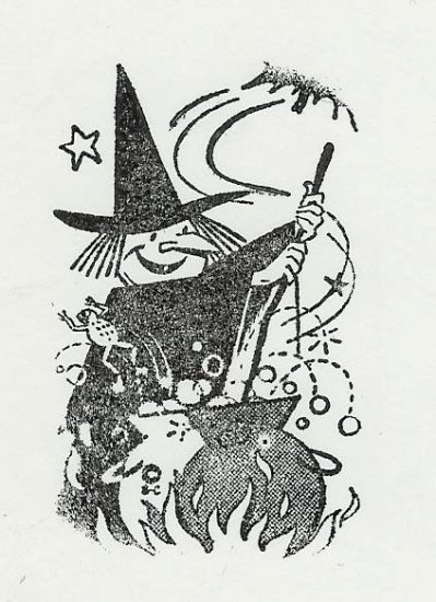 Witch stirring Cauldren with bat and frog Halloween