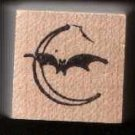 Bat in Front of the Moon Rubber Stamp Halloween free shipping