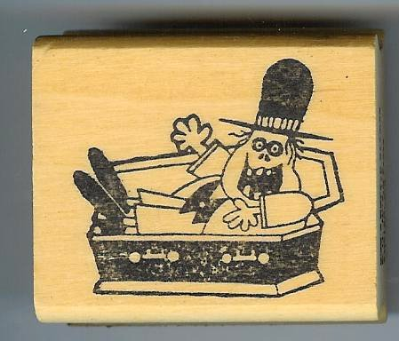 Goofy Vampire in Coffin Halloween rubber stamp