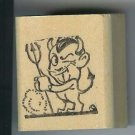 Devil with Trident large Halloween rubber stamp