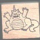 Horned Monster Halloween rubber stamp
