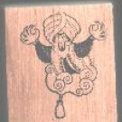 Genie coming out of bottle Halloween rubber stamp