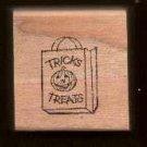 Tricks Treats Bag Jackolantern Halloween rubber stamp