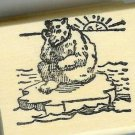 Bear on Ice Flow with sun rising thinking rubber stamp