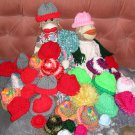 6 Knit Cap Hats for Sock Monkey/doll NEW Handmade Solid