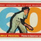 1960 Topps Baseball Card AS Camilo Pascual #569