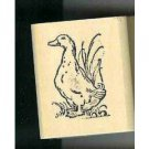 Duck standing in grass rubber stamp