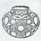 Indian style southwestern pottery pot native american  rubber stamp