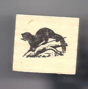 Otter on branch rubber stamp animal wildlife wild