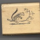 Chipmunk animal on branch rubber stamp