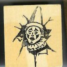 Clown head breaking thru wall Rubber Stamp made in america free shipping