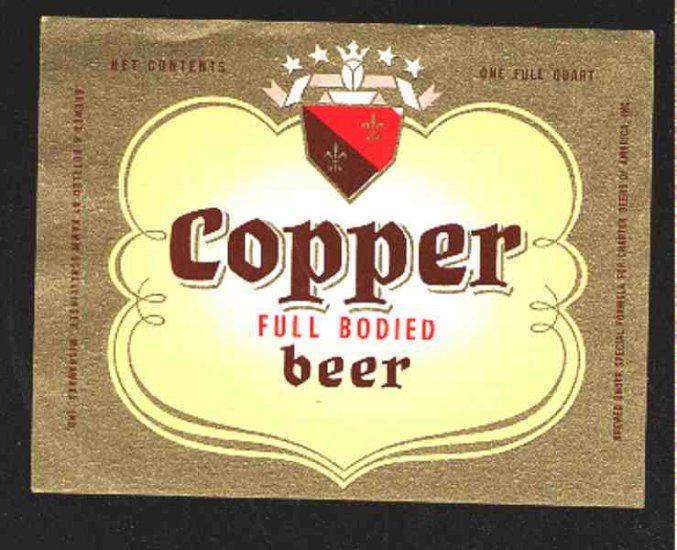 Copper Full Bodied Beer Label 32oz