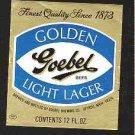 GOEBEL Golden Light Lager Beer Label 12oz