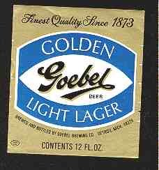 GOEBEL Golden Light Lager Beer Label 12oz