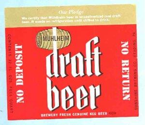 MUHLHEIM Draft Beer Label 32oz.