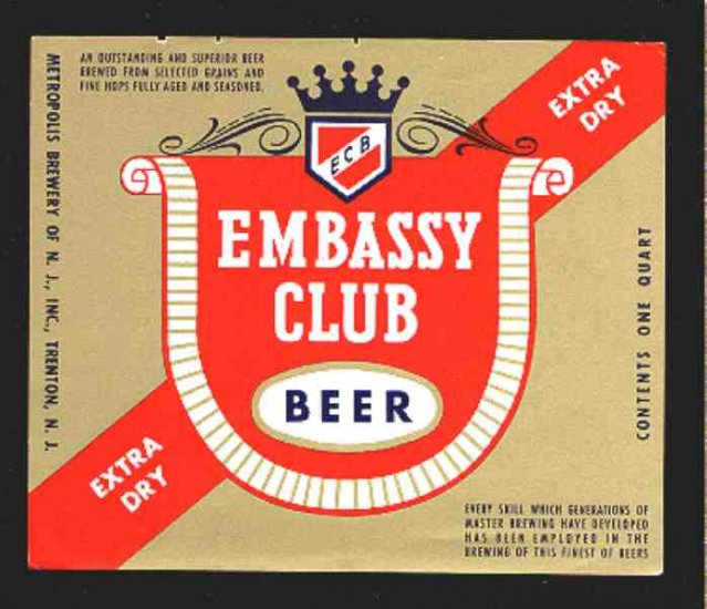 EMBASSY CLUB  Beer Label 32oz
