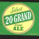 20 GRAND Cream Ale Label 12oz.