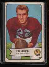 1954 Bowman F.B. DON HEINRICH Rookie CD.  CD#92 VG-EX