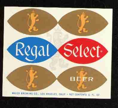 REGAL SELECT Beer Label / 11oz.