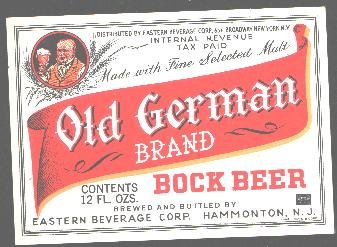 OLD GERMAN Bock Beer Label  IRTP /12oz
