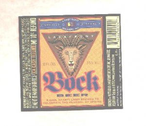 LAKEFRONT Bock Beer Label / 12oz